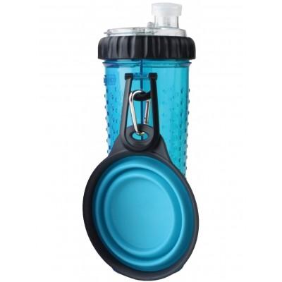 Dexas Snack DuO Бутылка двойная для воды и корма со складной миской 720 мл, голубая