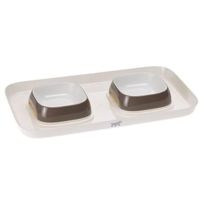 Ferplast GLAM TRAY Пластиковый поднос с мисками для кошек и собак, серый