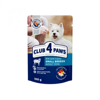 КЛУБ 4 ЛАПЫ PREMIUM Влажный корм для взрослых собак малых пород с ягненком в соусе 100 г