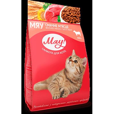Мяу мясо сухой корм для взрослых кошек 400 г