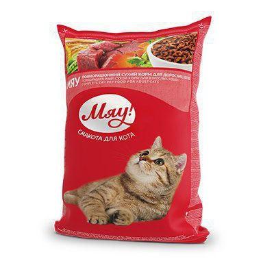 Мяу печень сухой корм для взрослых кошек 400 г