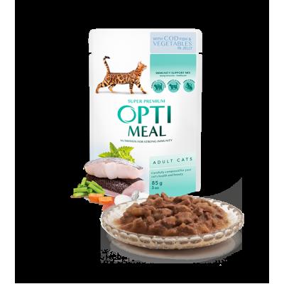 OPTIMEAL влажный корм для взрослых кошек с треской и овощами в желе 85 г