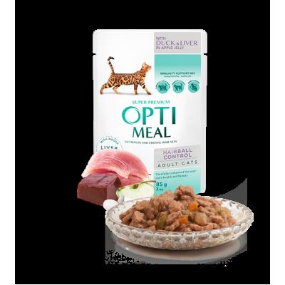 OPTIMEAL влажный корм для взрослых кошек с эффектом выведения шерсти утка и печень в желе 85 г