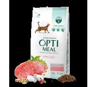 Optimeal Сухой корм для стерилизованных кошек и кастрированных котов с говядиной и сорго 1,5 кг
