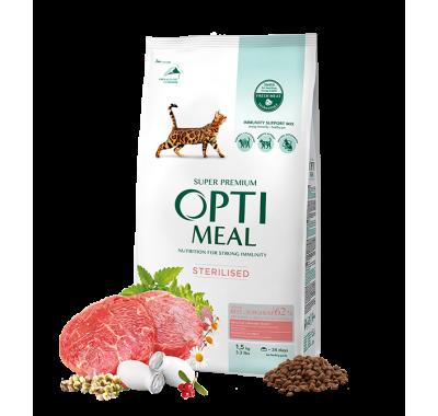 Optimeal Сухой корм для стерилизованных кошек и кастрированных котов с говядиной и сорго 650 г