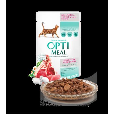 OPTIMEAL влажный корм для кошек с чувствительным пищеварением с ягненком и индейки в соусе 85 г