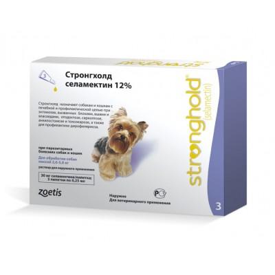Стронгхолд  rапли от блох, ушных и чесоточных клещей, гельминтов для собак весом от 2,5 до 5 кг