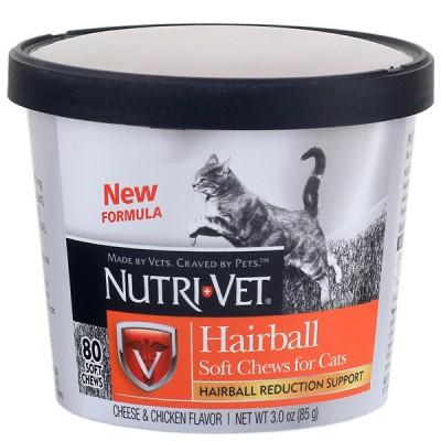 Nutri-Vet Hairball Soft Chews НУТРИ-ВЕТ ХЭИРБОЛЛ жевательные таблетки для выведения шерсти котов